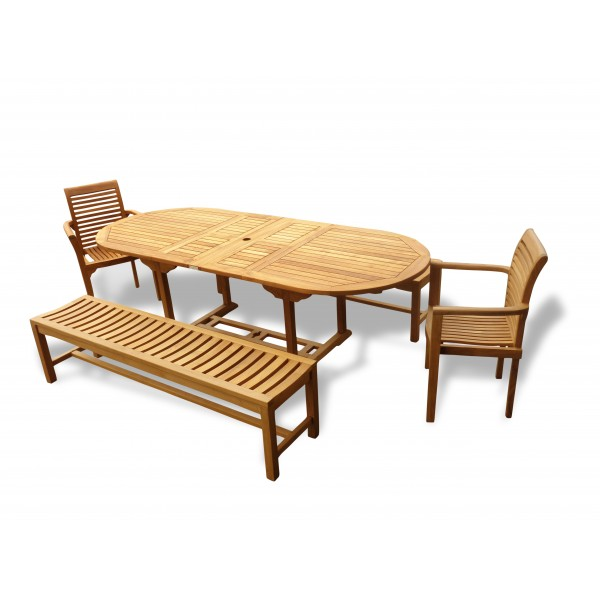 "Buckingham 95"" x 39"" Oval Extension Table w 2 Stacking Chairs & Two 72"" Backless Benches..Seats 10"