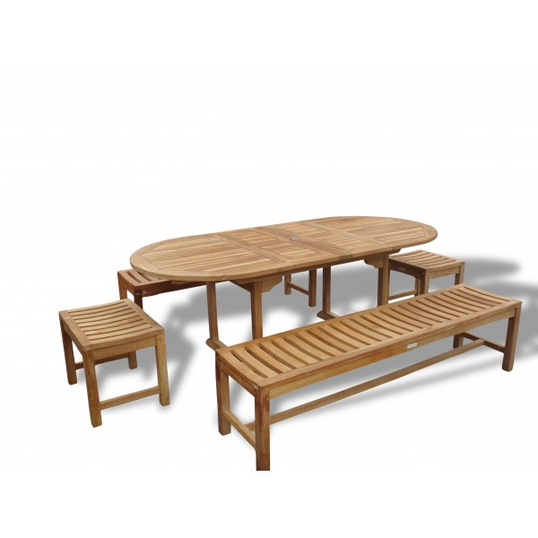 "Buckingham 82"" x 39"" Double Leaf Oval Extension Table w Two 72"" & Two 18"" Backless Benches...Seats 8-10"