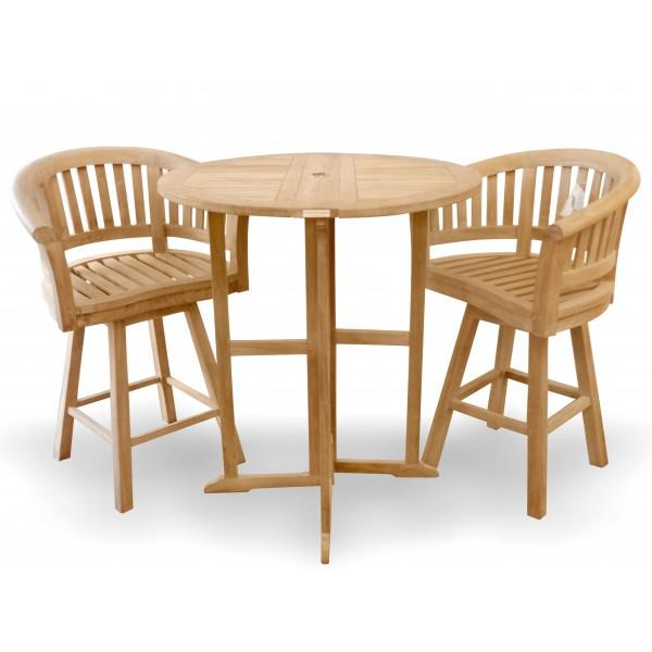 "Nassau 39"" Round Drop Leaf Folding Bar Table W/2 Kensington Swivel Bar Chairs"