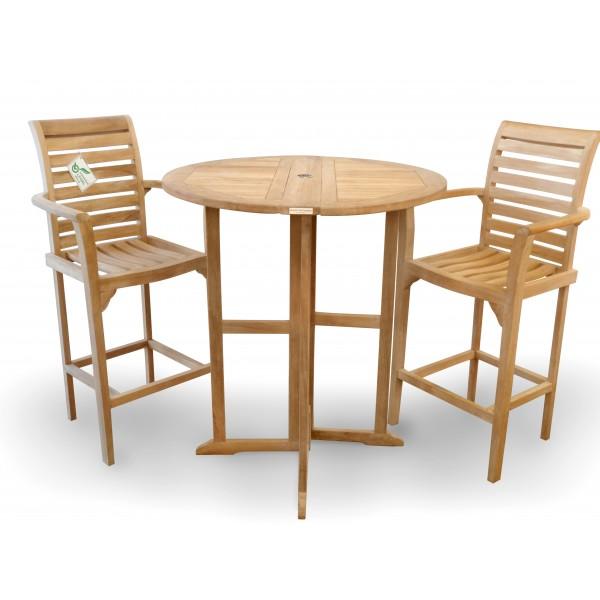Nassau 39 Round Drop Leaf Folding Bar Table w/2 St. Moritz Bar Chairs