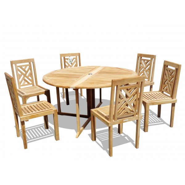"""Barcelona 59"""" Round Drop Leaf Teak Table W/6 Chippendale Teak Stacking Chairs"""