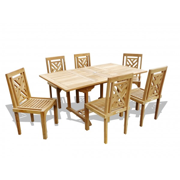 "Buckingham 66"" x 39"" Double Leaf Rectangular Extension Teak Table W/6 Chippendale Stacking Chairs...can seat 8"
