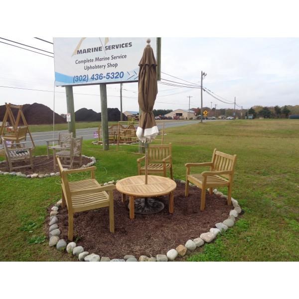 "Hyannis Port Round 40"" Teak Coffee Table w Umbrella Hole"