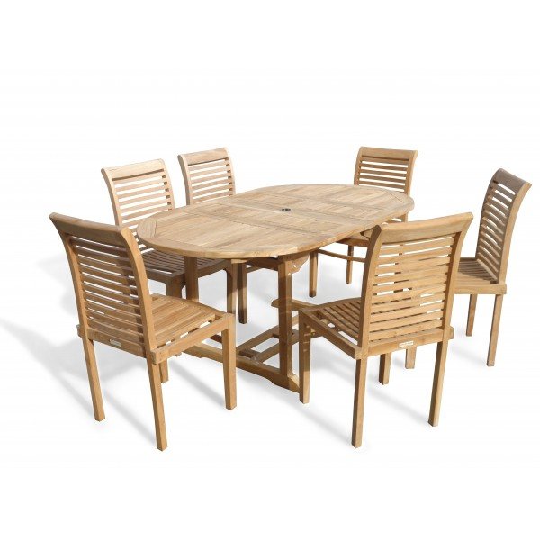 "Buckingham 66"" x 39"" Double Leaf Oval Extension Teak Table W/6 Casa Blanca Armless Stacking Chairs."