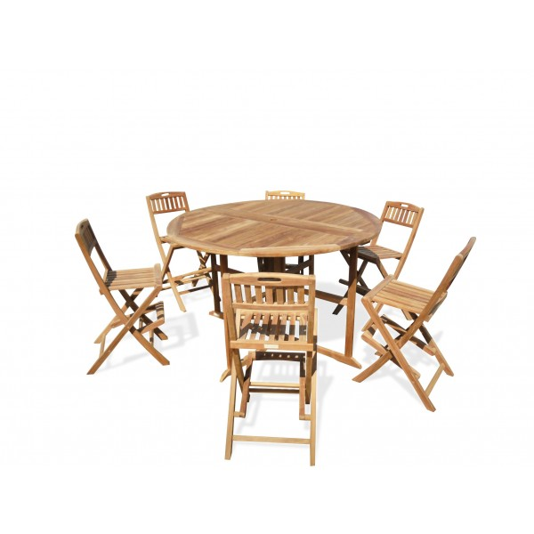 "Bimini 59"" Round Drop Leaf Folding Counter Table W/6 Mallorca Folding Counter Chairs (Counter height is 5"" lower than bar)"