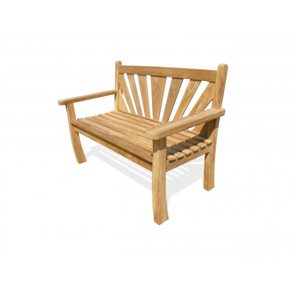 "A Windsor Exclusive ...... ""Sunburst"" Design Teak Bench 2 Seater"