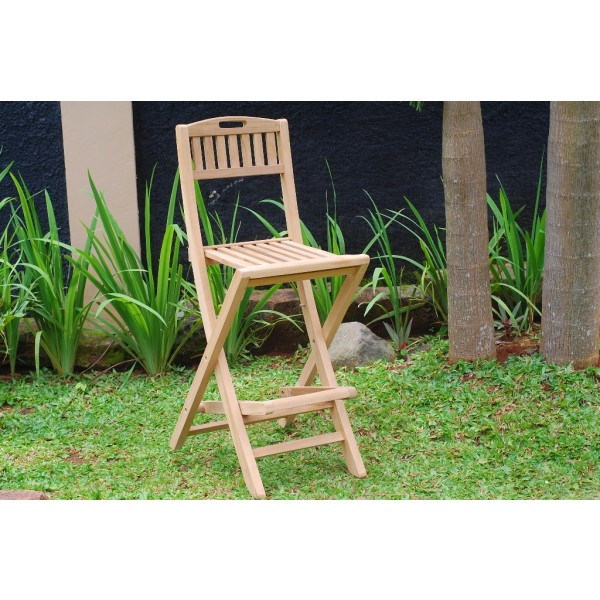 "Mallorca Teak Folding Counter Chair (Counter height is 5"" lower than bar)"
