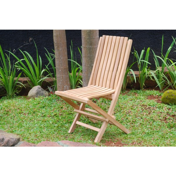 Java Teak Folding Chair w/ Lumbar Support Back