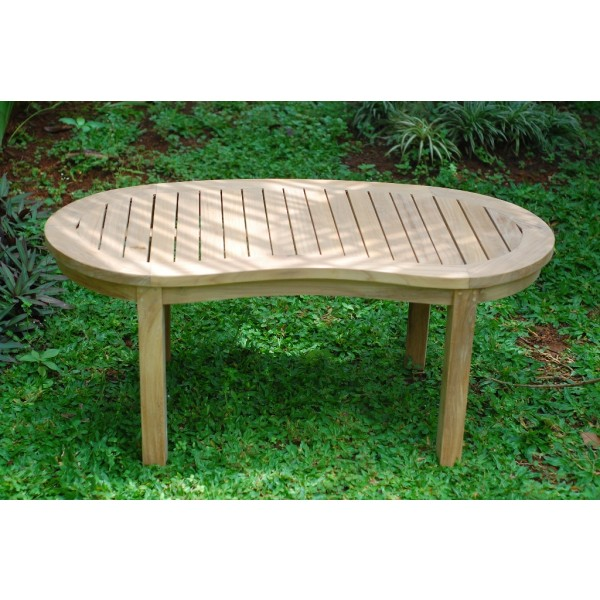 "The Kensington 47"" Curved Kidney Shaped Teak Coffee Table"