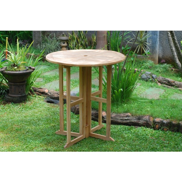 "The 39"" Nassau Round Drop Leaf Teak Folding Bar Table ...use with 1 Leaf Up or 2.... Makes 2 different tables"