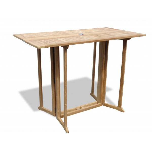 "Nassau 59"" x 31"" Rectangular Teak Drop Leaf Folding Bar Table...use with 1 Leaf Up or 2.... Makes 2 different tables"