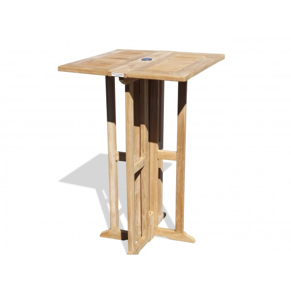 "Bimini 27"" Square Drop Leaf Teak Folding Counter Table ...use with 1 Leaf Up or 2.... Makes 2 different tables (Counter height is 5"" lower than bar)"