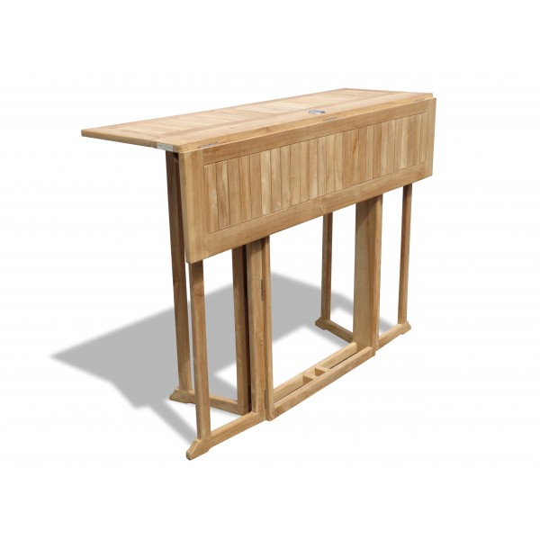 "Bimini 59"" x 31"" Rectangular Teak Drop Leaf Folding Counter Table...use with 1 Leaf Up or 2.... Makes 2 different tables (Counter Height is 5"" Lower then Bar)"