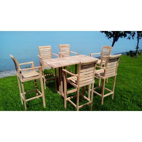 "Nassau 59"" x 31"" Rectangular Teak Drop Leaf Folding Bar Table w 6 St. Moritz Bar Chairs"