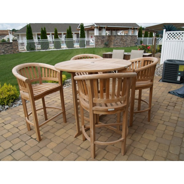 "Bimini 47"" Round Drop Leaf Folding Teak Counter Table W/4 Kensington Counter Chairs (Counter height is 5"" lower than bar)"