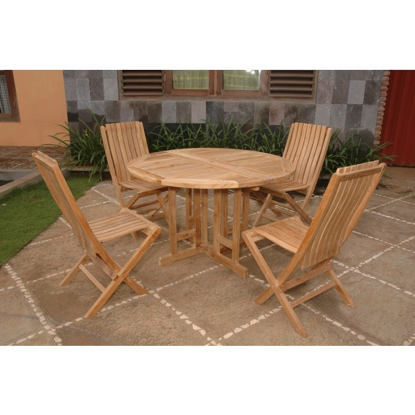 "Barcelona Round Drop Leaf 47"" Teak Dining Table ...use with 1 Leaf Up or 2.... Makes 2 different tables..."