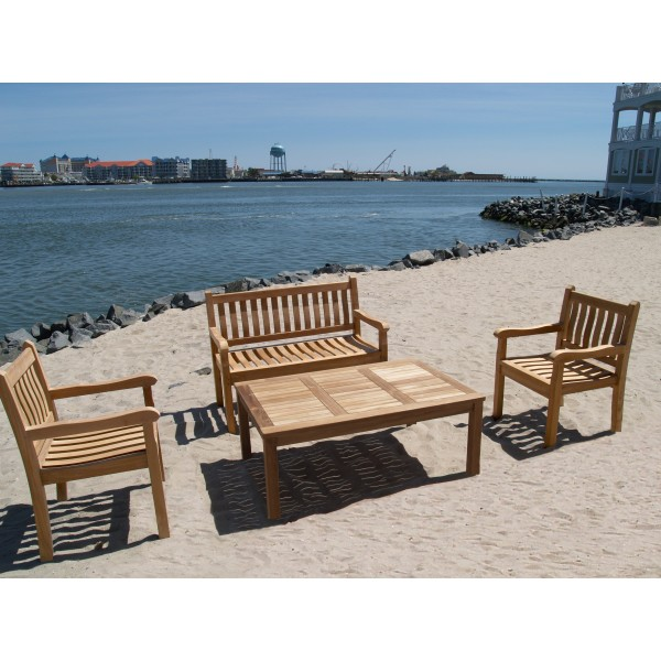 """Windsor Teak 4 Pc Collection, One 48"""" 2 Seater Bench, W/2 Armchairs, 1 Cape Cod 47"""" Coffee Table"""