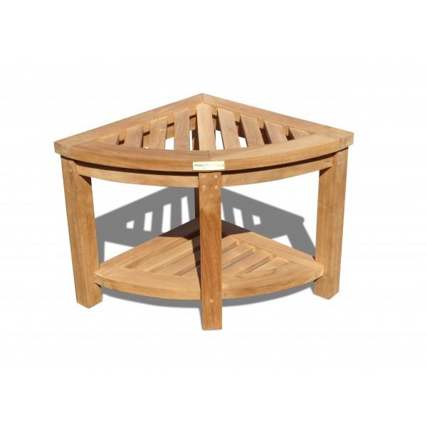 Windsor Teak Corner Stool/Table w Shelf