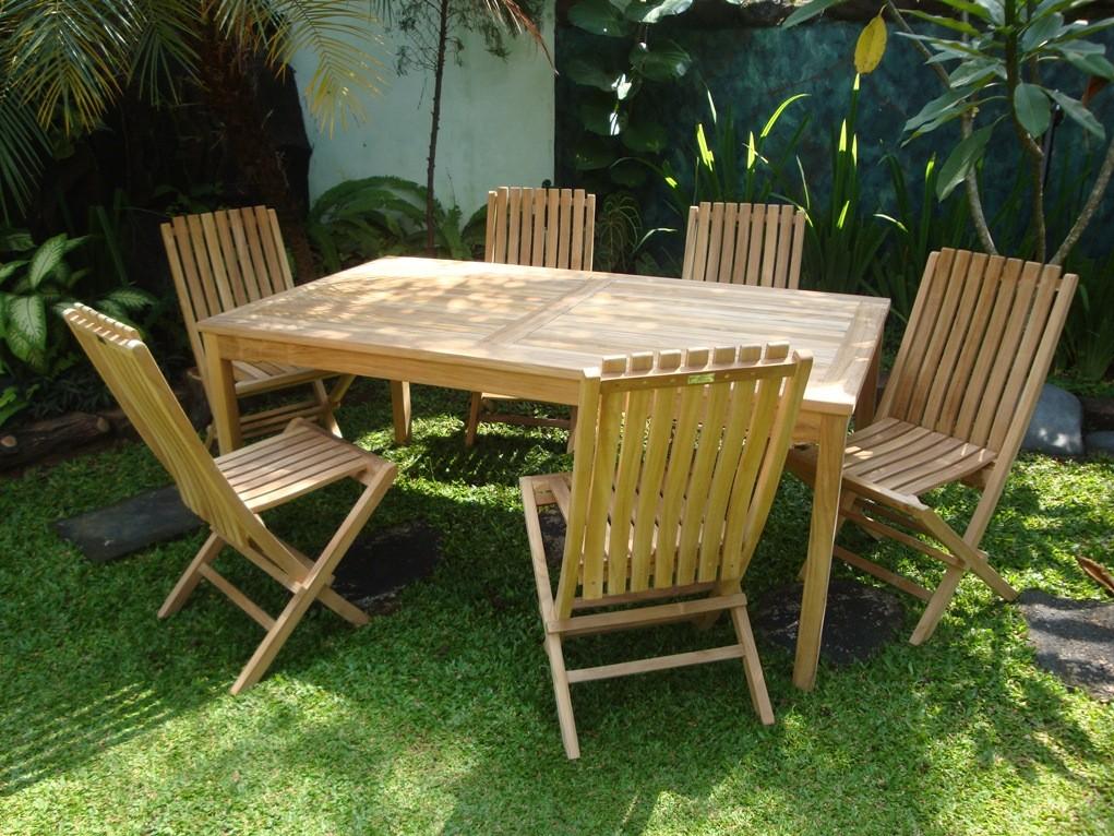 "Cannes 71"" x 35"" Rectangular Teak Dining Table W/ 6 Java Teak Folding Chairs w/Lumbar Support"
