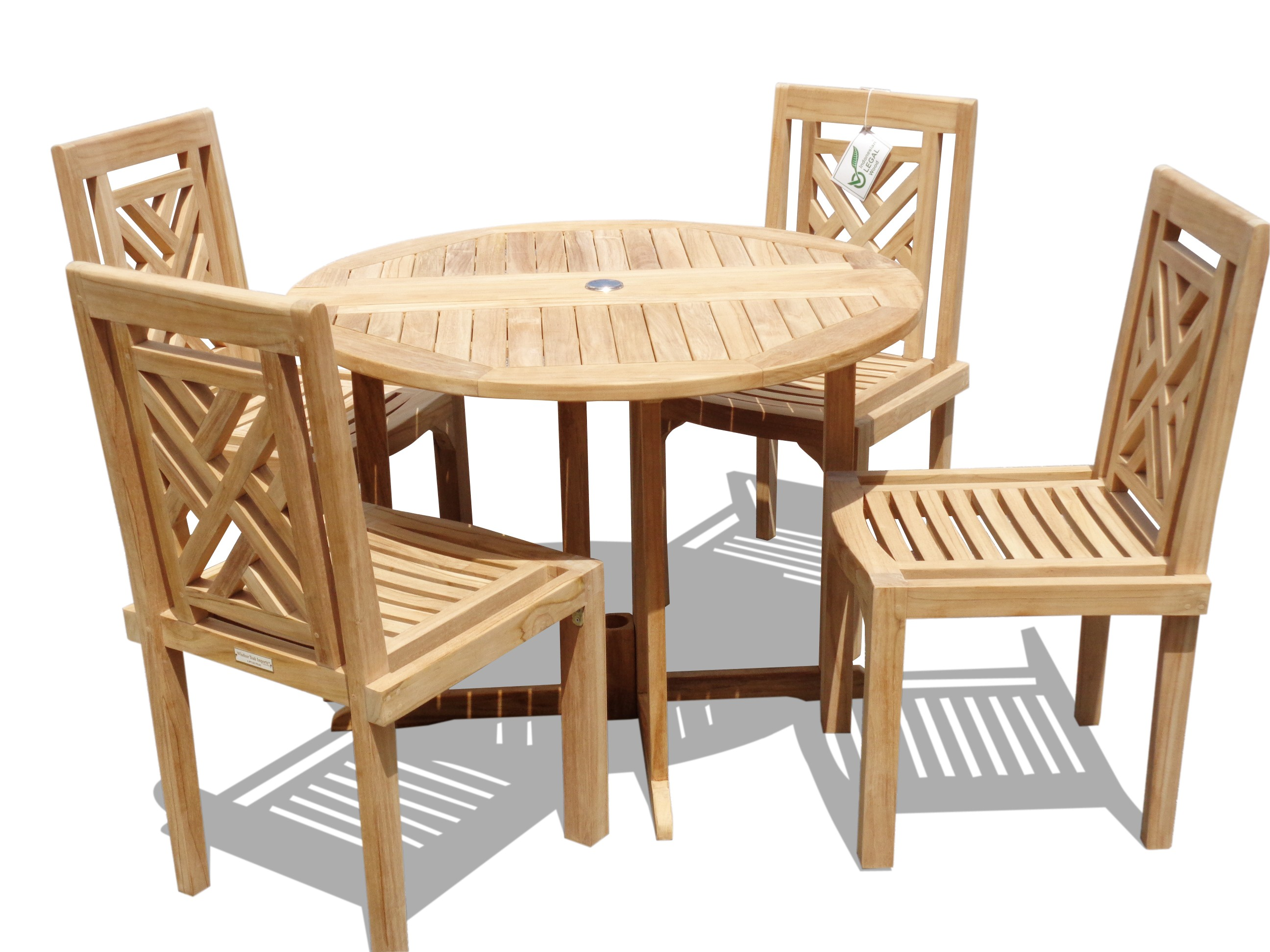 """Barcelona 39"""" Round Drop Leaf Folding Teak Table W/4 Chippendale Teak Stacking Chairs"""
